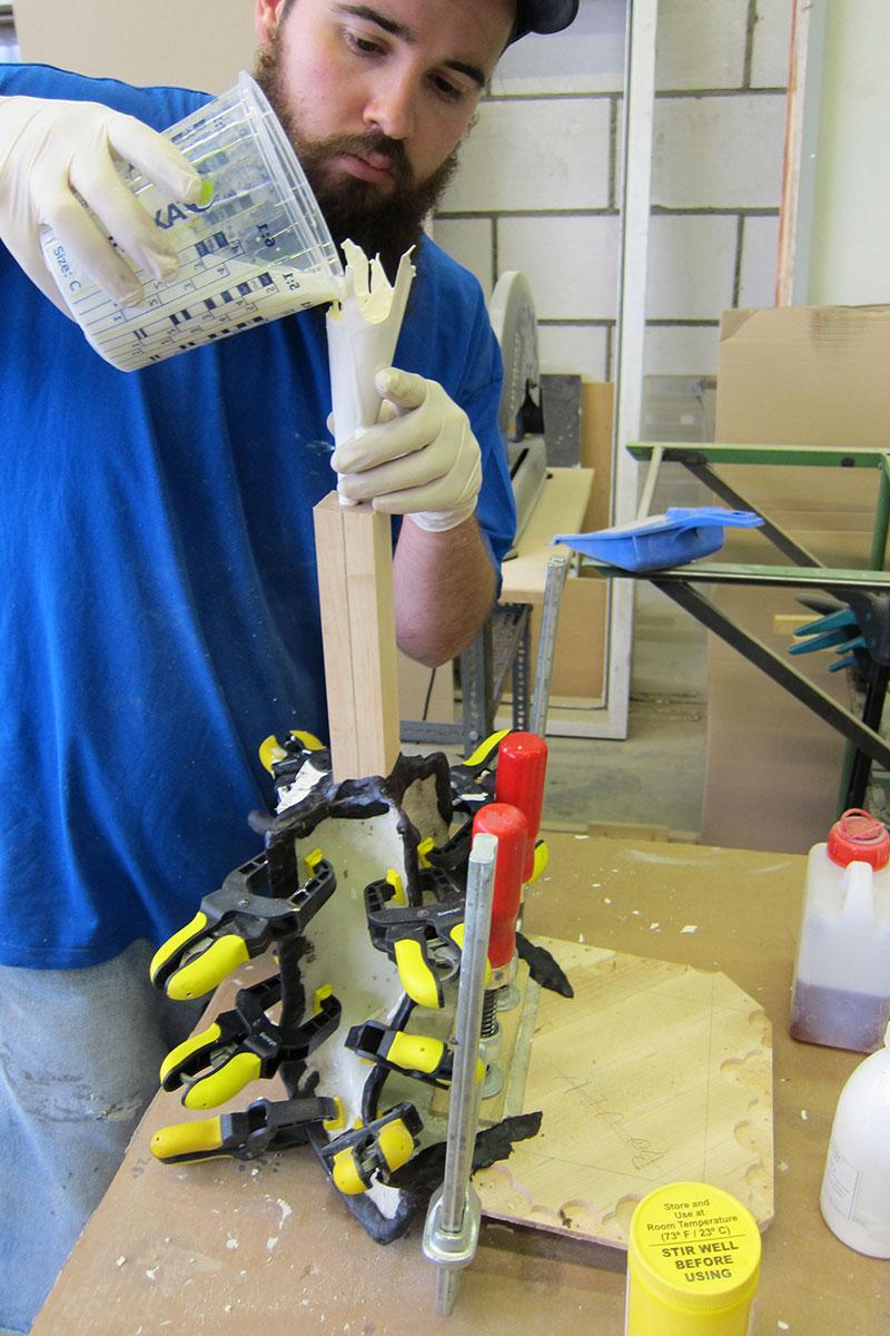 Hand-casting polyurethane resin. Photo courtesy of Alexander Pelikan.