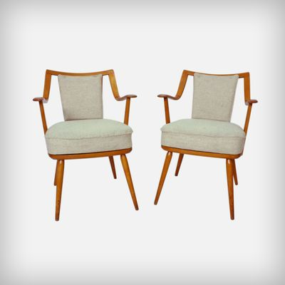 Exceptional German Beechwood Easy Chairs From Casala, 1950s, Set Of 2 1