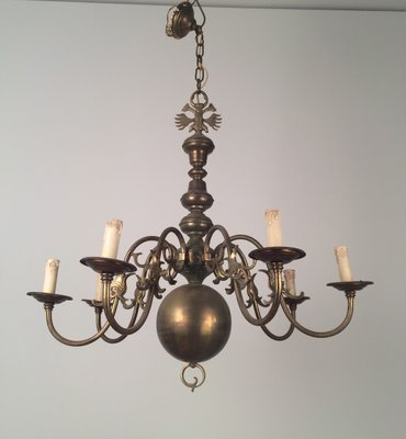 Vintage bronze and brass chandelier 1940s for sale at pamono vintage bronze and brass chandelier 1940s 4 aloadofball Images