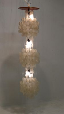 Vintage three tier capiz shell chandelier for sale at pamono vintage three tier capiz shell chandelier 5 aloadofball Gallery