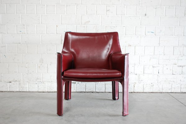 Bordeaux Red Cab 414 Lounge Chair By Mario Bellini For Cassina 1