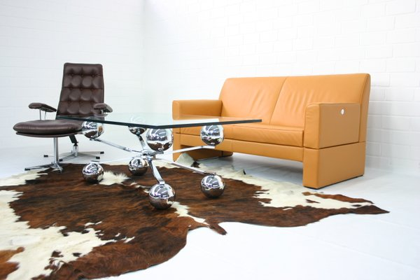 Italien Space Age Sputnik / Atomium Glas and Chrome Coffee Table ...