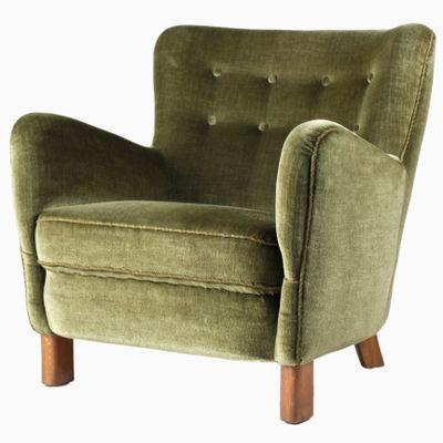 Lovely Danish Velour Club Chair From Fritz Hansen, 1940s 1