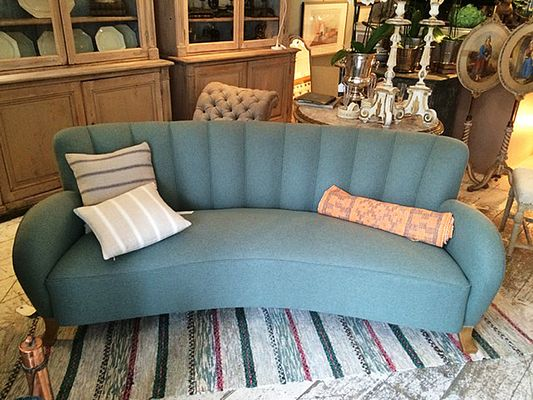 Swedish Art Deco Curved Back Flannel Sofa 2