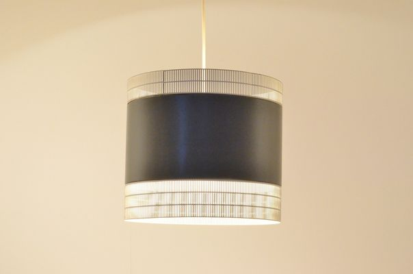 Dutch Mid Century Perforated White Grey Metal Pendant Lamp From Anvia 2