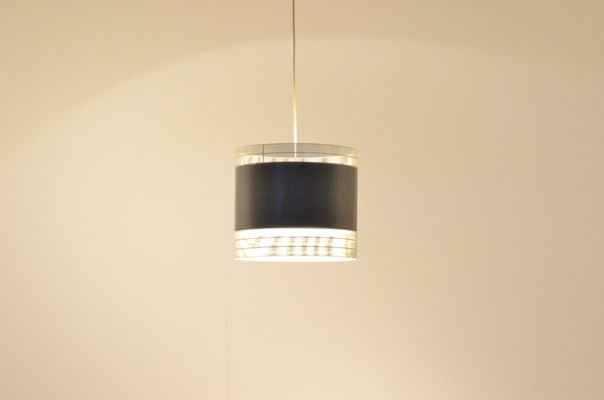 Dutch Mid Century Perforated White Grey Metal Pendant Lamp From Anvia 1