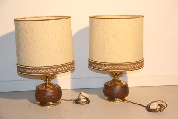 Italian Wood U0026 Brass Table Lamps, 1950, ...
