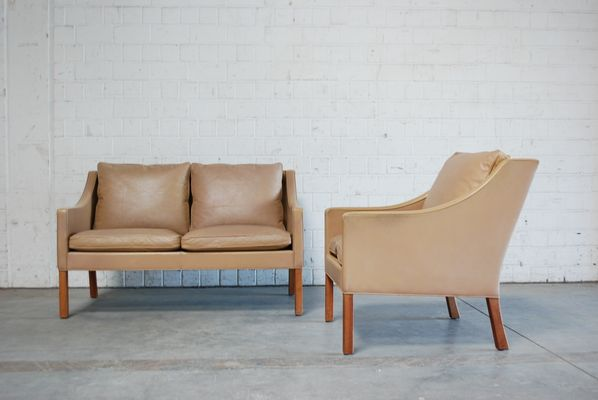 Vintage 2208 2207 Brown Sofa Easy Chair By Børge Mogensen For Fredericia 1