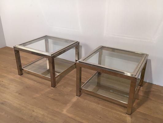Vintage Chrome Coffee Tables, Set Of 2 1