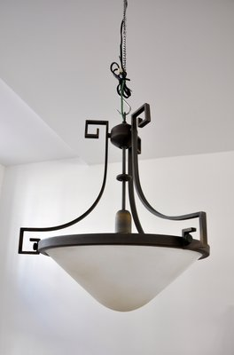 Swiss Art Deco Brass & Opaline Glass Pendant Lamp, 1930s for sale at ...