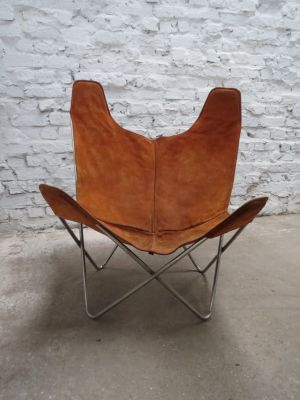 Vintage Chrome & Suede Butterfly Chair by Jorge Ferrari-Hardoy for ...