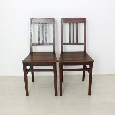 Vintage Wooden Chairs 1920s Set of 2 for sale at Pamono