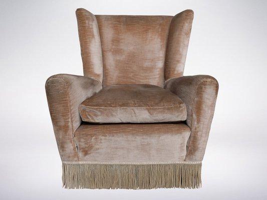 Velvet Wingback Armchair, 1960s 1