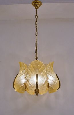 Mid century swedish glass brass chandelier for sale at pamono mid century swedish glass brass chandelier 1 aloadofball Images