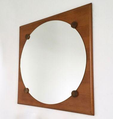 Specchi a muro grandi in noce, anni \'70, set di 2 in vendita su Pamono