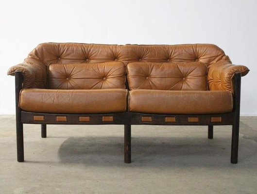 Mid Century Camel Leather Two Seater Sofa By Arne Norell For Coja 4