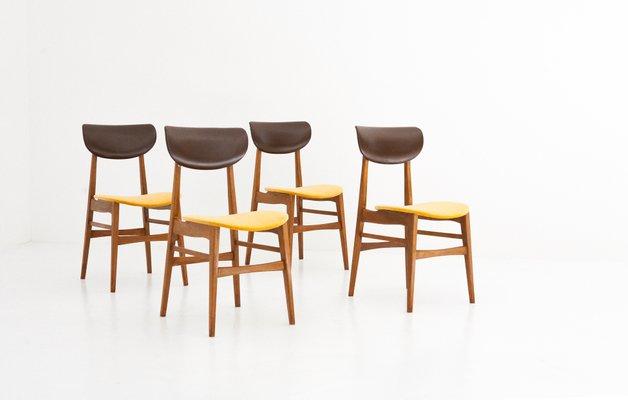 Schwedische Mid Century Stühle Aus Skai U0026 Samt, 1950er, 4er Set 1 Pictures