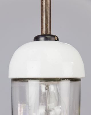 Vintage Small Porcelain And Glass Pendant Light 3