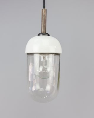 Vintage Small Porcelain And Glass Pendant Light 2