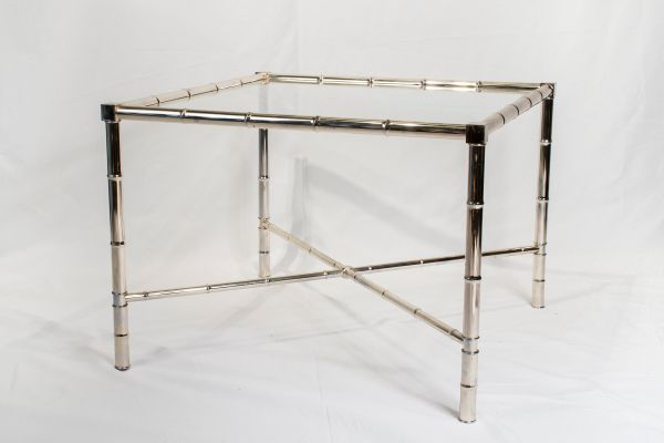 Vintage Chrome Side Table With Glass Top 1