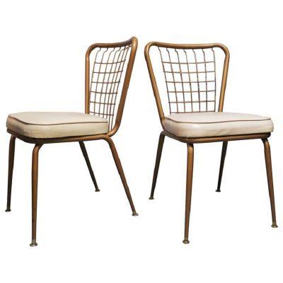 Bronzed Metal U0026 Wire Chairs, 1950s, ...