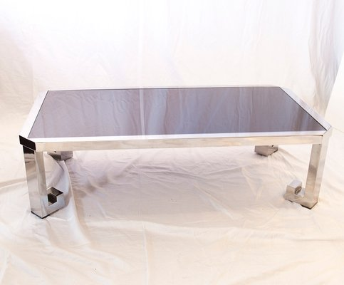 Vintage Greek Chrome Coffee Table With Black Glass 2