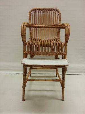 Mid Century Rattan Childrenu0027s High Chair 1