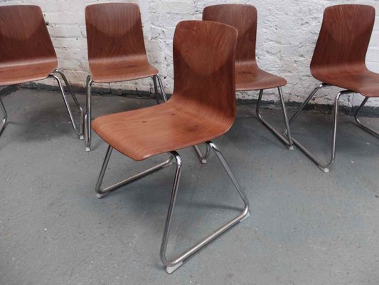 Stackable Thur Op Seat Chairs With Metal Frame By Pagholz, Set Of 5