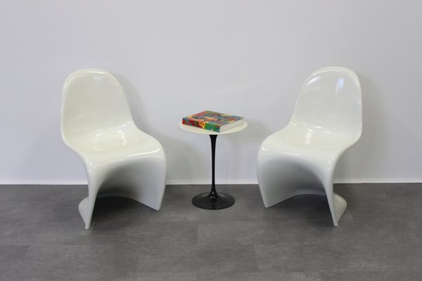 Cream White Panton Chairs By Verner Panton For Horn, 1989, Set Of 2 1