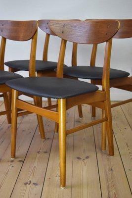 Danish Teak Beech Dining Chairs 1960s Set Of 4 3