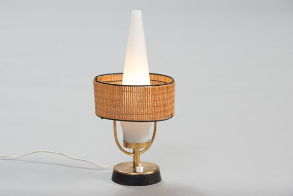 Vintage italian table lamp with frosted glass shade 1