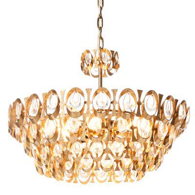 Kronleuchter Kristall vergoldeter messing kristall kronleuchter palwa 1960er bei