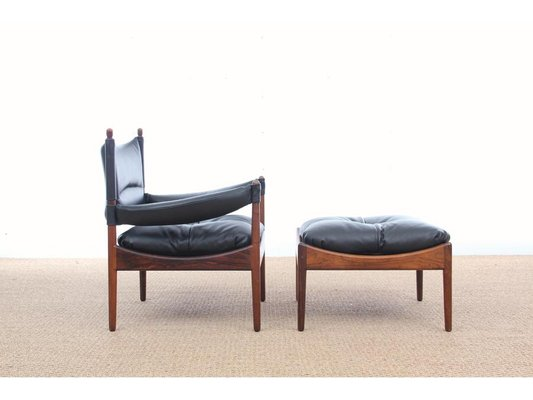 mid century modern danish lounge chair and ottoman by kristian vedel for soren willadsen - Bergroer Sessel Und Ottomane