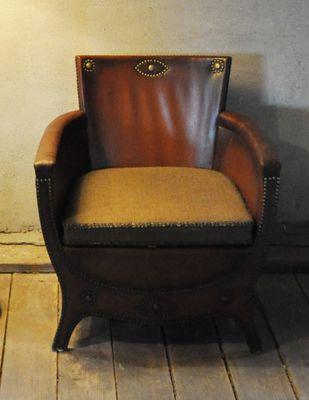Poltrona lounge vintage di pelle di Otto Schulz, anni \'30 in vendita ...