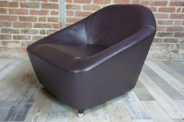 Vintage Leather Lounge Chair U0026 Ottoman By François Bauchet 3