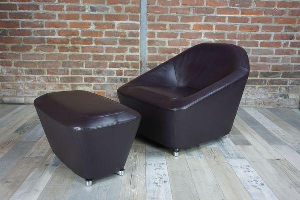 Vintage Leather Lounge Chair U0026 Ottoman By François Bauchet 1