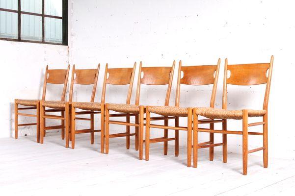 Skandinavische Stühle skandinavische stühle aus eichenholz strohgeflecht 1950er 6er
