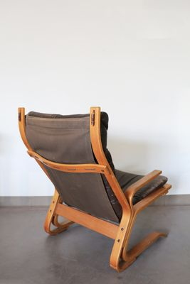 Leather Bentwood Armchair By Oddvin Rykken, 1970 3