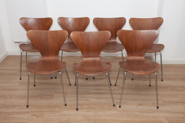 Model 3107 Teak U0026 Plywood Ant Chairs By Arne Jacobsen For Fritz Hansen,  1960s,