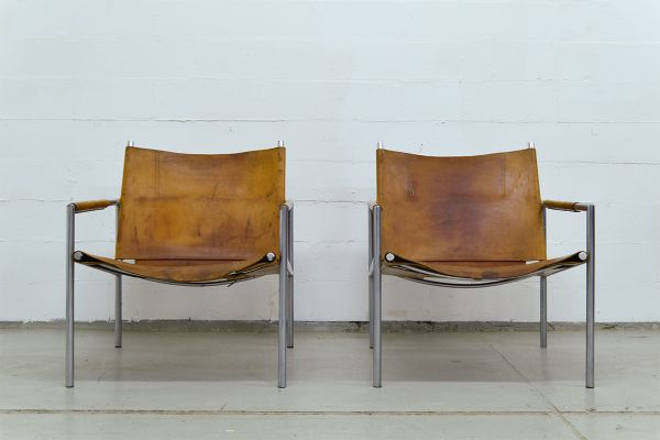 SZ01 Saddle Leather Armchairs By Martin Visser For U0027t Spectrum, ...