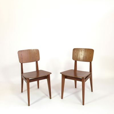 French CD Chairs By Marcel Gascoin For Arhec, 1950s, Set Of 2 1