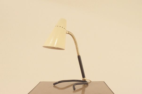 Mid Century French Brass U0026 Cream Painted Metal Table Lamp 1