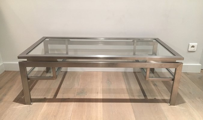 Modernist Brushed Metal Coffee Table By Guy Lefèvre 1