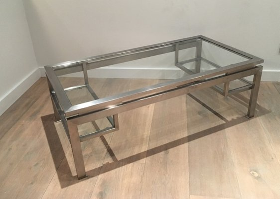 Modernist Brushed Metal Coffee Table By Guy Lefèvre 18