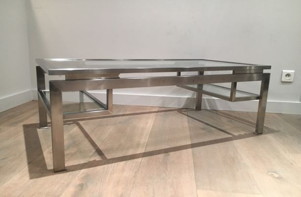 Modernist Brushed Metal Coffee Table By Guy Lefèvre 19
