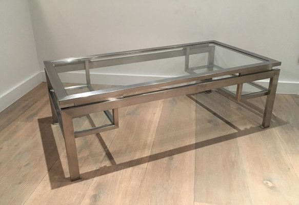 Modernist Brushed Metal Coffee Table By Guy Lefèvre 2