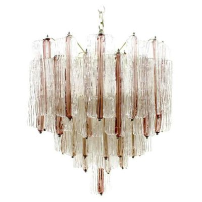 Pink Glass Chandelier Large two tone pink white murano glass chandelier by toni zuccheri large two tone pink white murano glass chandelier by toni zuccheri for venini audiocablefo