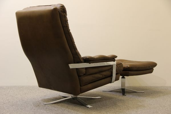Retro Buffalo Leather Armchair And Footstool By Arne Norell For Vatne 5