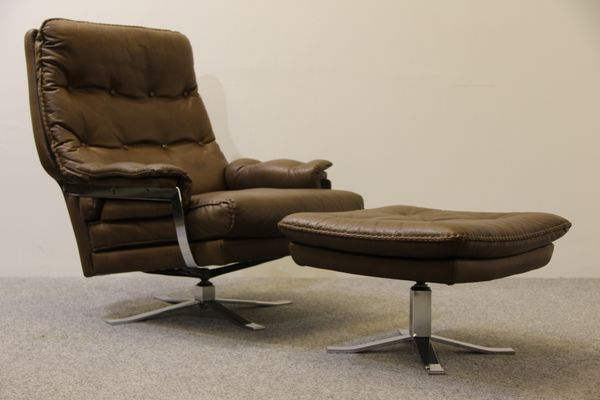 Delightful Retro Buffalo Leather Armchair And Footstool By Arne Norell For Vatne 1