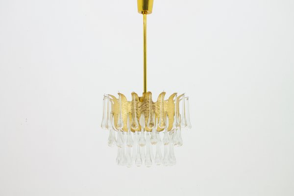 Kronleuchter Glas kronleuchter aus vergoldetem messing glas ernst palme 1960er